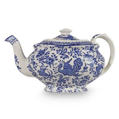 Blue Regal Peacock earthenware teapot