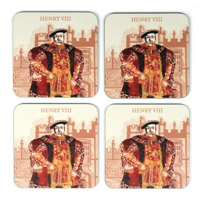 Illustrated Henry VIII at Hampton Court Palace set of 4 coasters opened set