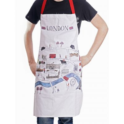 London map apron worn front view