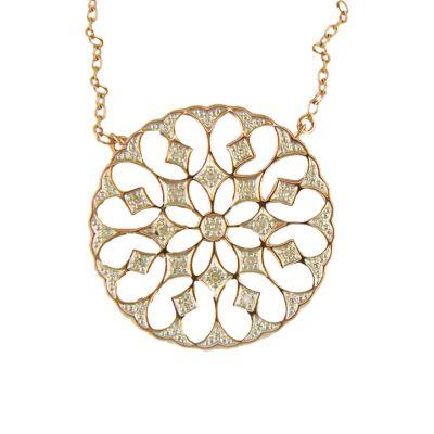 9ct rose gold circle diamond pendant