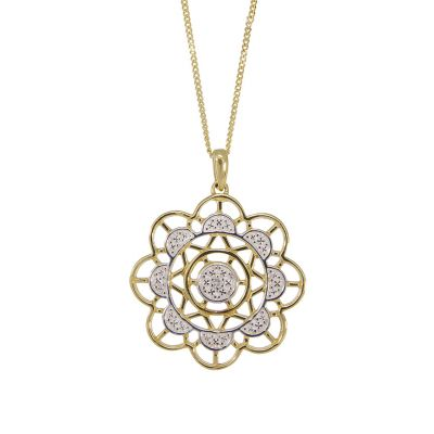 9ct gold diamond pendant necklace