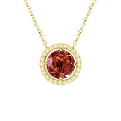 Gold plated garnet necklace