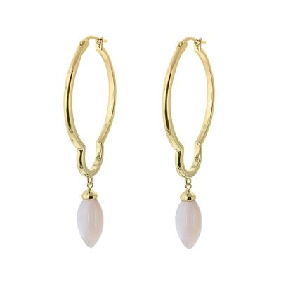 GOLD PLATED MOTHER OF PEARL HOOPS