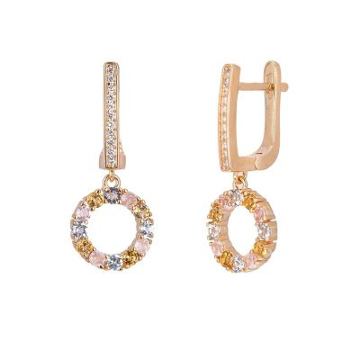 Gold plated rose gold drop earrings
