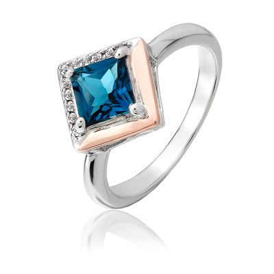 Clogau Gold kensington Love Story silver and rose gold ring set with large blue topaz and white topaz details
