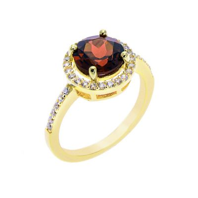 Gold plated garnet ring