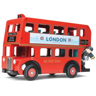 Large children's wooden London double decker red bus toy