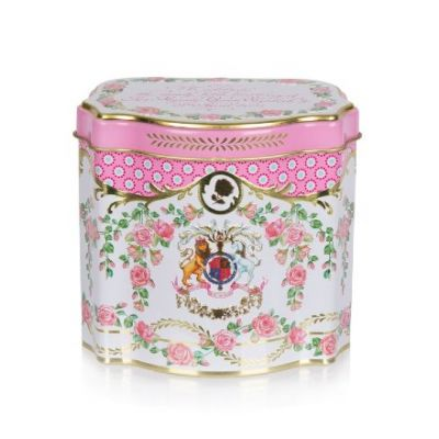Official Queen's 95th birthday tin tea caddy - pink commemorative tin with royal coat of arms and garlands of roses