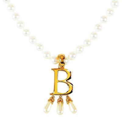 Anne Boleyn 'B' initial necklace with pearls