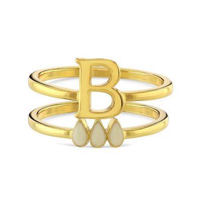 Anne Boleyn 'B' initial stacking ring