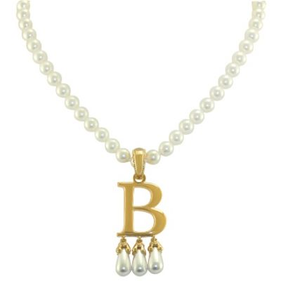 Anne Boleyn 'B' initial necklace with pearls