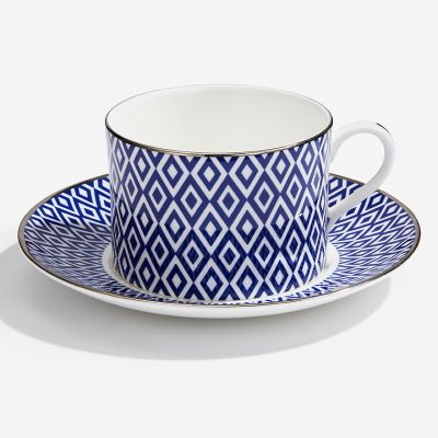 The Aragon Collection midnight blue fine bone china tea cup and saucer
