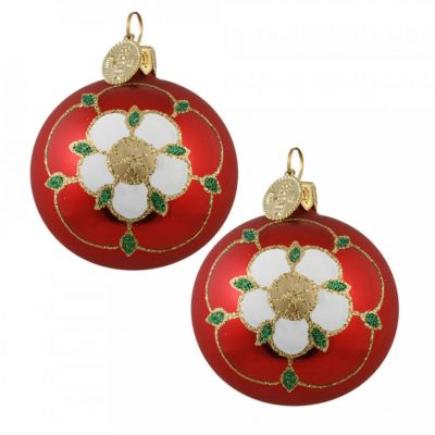 Brink Tudor Rose glass baubles