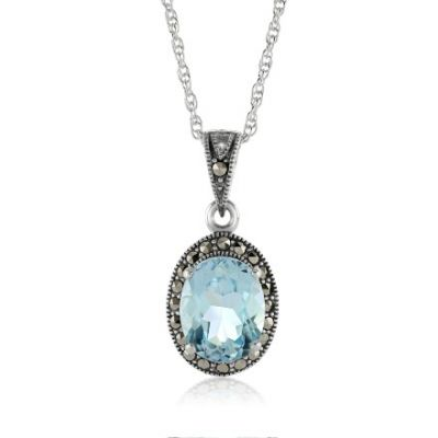 Blue topaz and marcasite sterling silver oval pendant