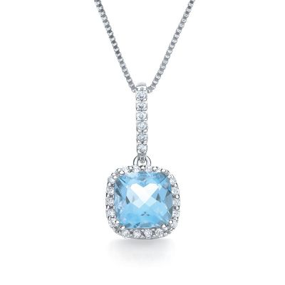 Glacier blue topaz and diamond pendant