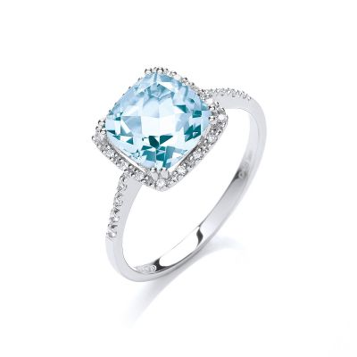 Glacier blue topaz and diamond ring