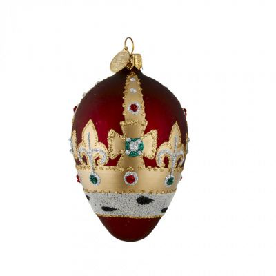 Brink Red royal crown glass bauble