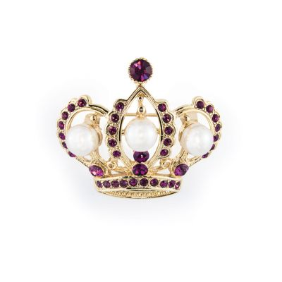 Pearl and amethyst silver crown brooch