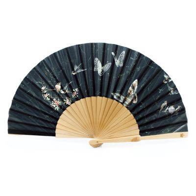 Black butterfly folding paper hand fan inspired by the royal dress collection