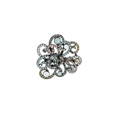 Aqua mini butterfly filigree brooch - Swarovski crystals
