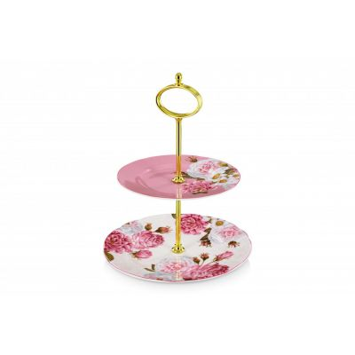 Royal Palace Rose fine bone china 2 tier cake stand