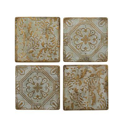 Bronze patterned ceramic tile drinks coasters - set of four