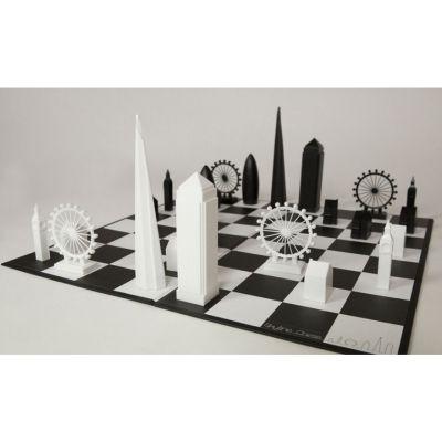London skyline chess set monochrome