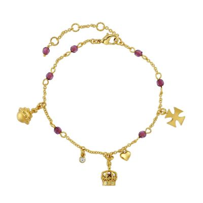Crown of India gold plated charm bracelet