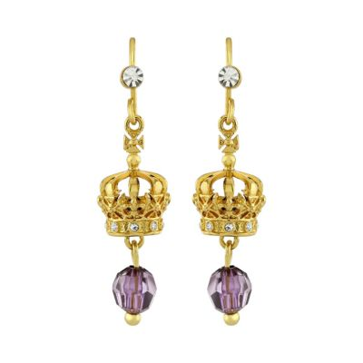 Crown of India gold drop earrings