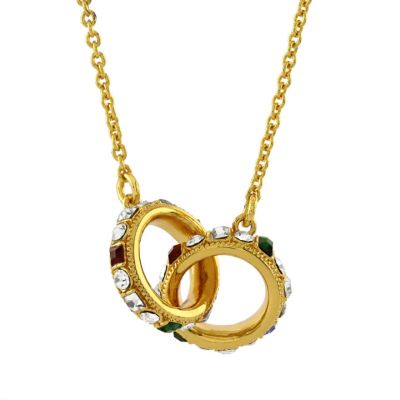 Double ring 18ct gold plated small necklace