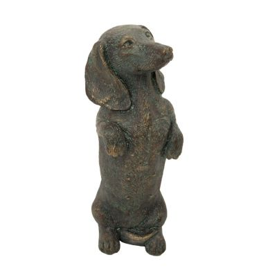 Standing dachshund dog ornament - bronze finish sculpture