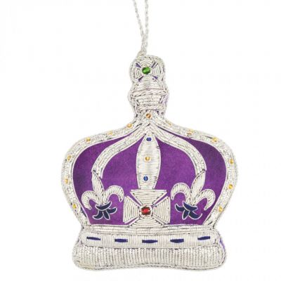 Crown of India tree decoration - purple velour with silver metal embroidery and coloured gems