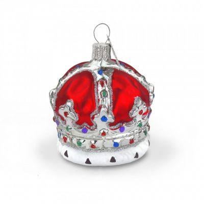 Red crown glass tree decoration