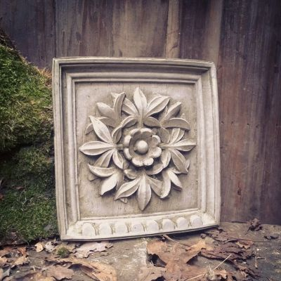 Decorative square stone flower plaque
