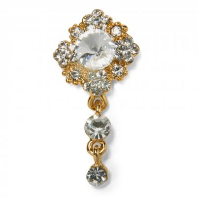 Crystal drop gold brooch