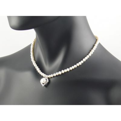 white pearl necklace with diamante heart