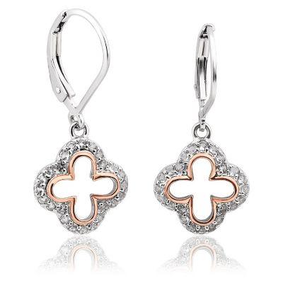 Clogau Tudor Court white topaz cross design drop earrings