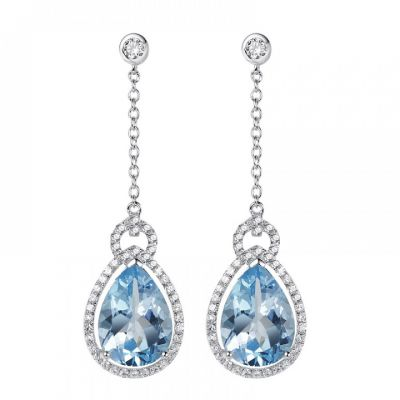 H.Azeem Blue topaz pear drop earrings