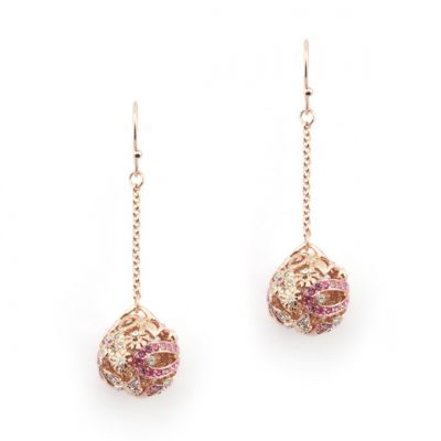 Ball Earring Botanical Floral Rose Gold