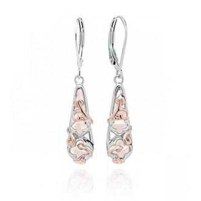 Clogau Tudor Court silver and rose gold mother of pearl earrings
