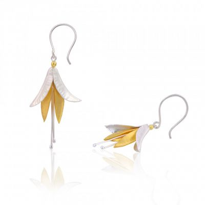 Silver and Gold Fuchsia drop earrings