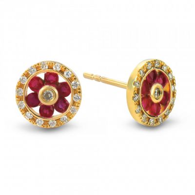 9ct yellow gold diamond and ruby round stud earrings