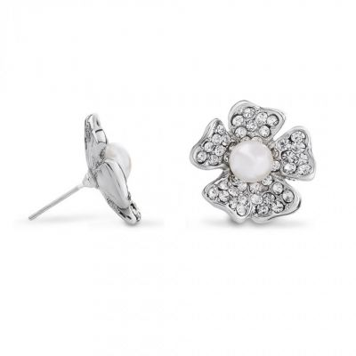 Butler And Wilson Wildflower crystal and pearl stud earrings