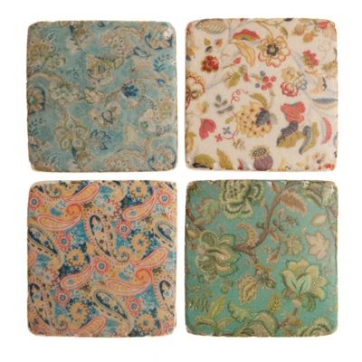 Edwardian style ceramic kitchen coasters set of 4