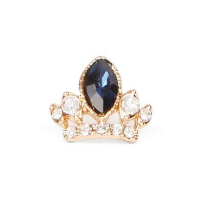 Faux blue sapphire tiara brooch