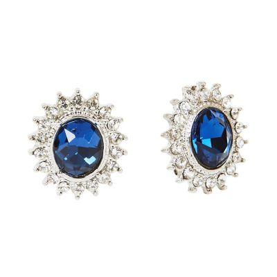 Faux sapphire clip on earrings