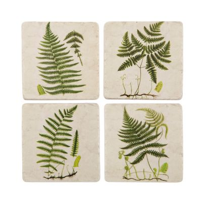 Green fern ceramic kitchen coasters set of 4