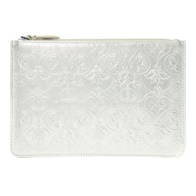 Royal Victoria silver metallic leather flat pouch clutch bag