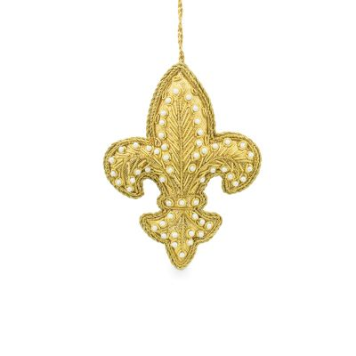 Fleur-de-lis luxury embroidered Christmas hanging decoration