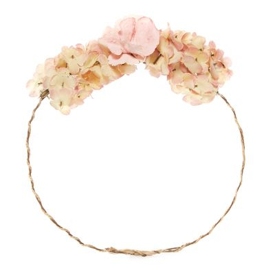 Pink floral hydrangea rustic headband